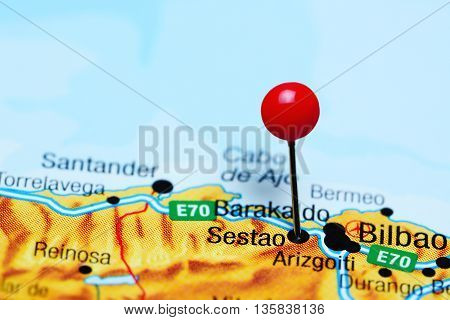 Sestao pinned on a map of Spain