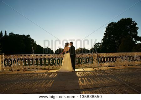 Young just married couple standing near lattice tracery at terrace in garden at sunset. Bride in white dress and groom in luxury costume