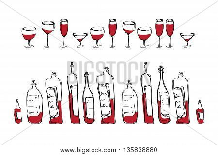 isolated bottles and glasses and in a row