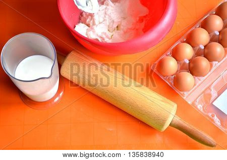 Ingredients which are needed to make a cake - farina milk and eggs