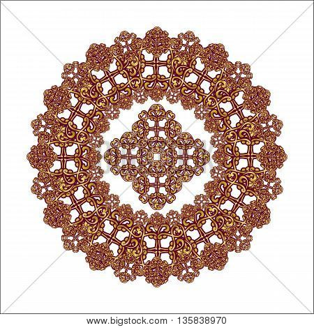 mandala pattern of lace gold color on a white background