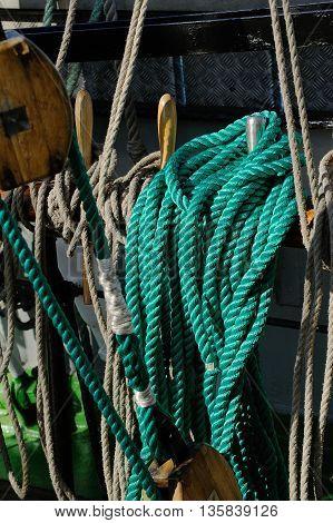 Rigging of a sailing ship ropes and block