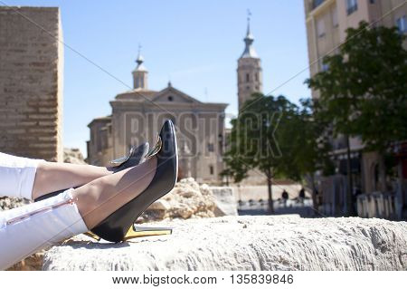 Shoes in front of a church in Zaragoza