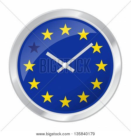 Vector illustration of clock face with EU flag and one star muted symbolizing BREXIT isolated on white EPS 10