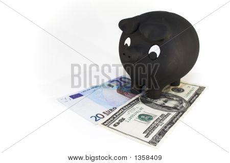 Piggy Bank With Bills