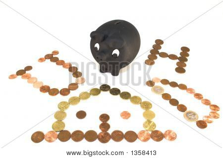 Piggy Bank With Coins Drawings