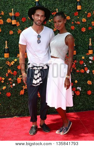 JERSEY CITY, NJ - MAY 30: Models Tobias Sorensen (L) and Jasmine Tookes attend the 8th Annual Veuve Clicquot Polo Classic at Liberty State Park on May 30, 2015 in Jersey  City, New Jersey.