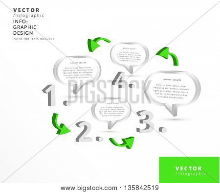 3D CHAT ICONS , 4 STEP VECTOR INFOGRAPHIC DESIGN