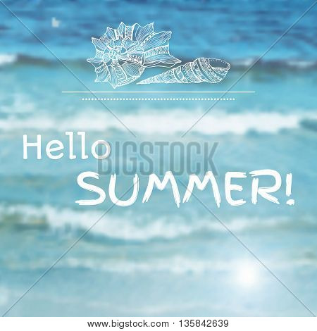 Vector blurred background with illustration of sea waves and label with shell. Travel design. Mesh blurred background. EPS 10