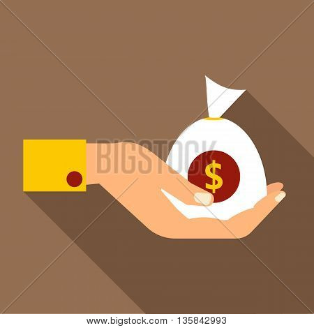 Hand holding money icon in flat style with long shadow. Money turnover symbol