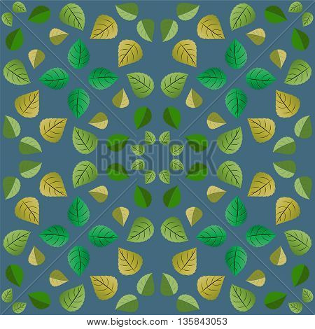 Geometric pattern with green leaves on a blue background