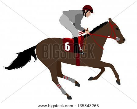 jockey riding race horse illustration 4 - vector