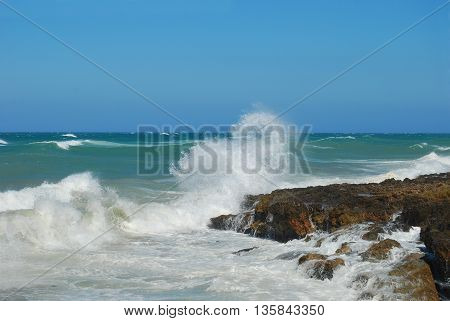 panoramic view of the Apulian coast of Torre Canne with stormy - Apulia - Italy