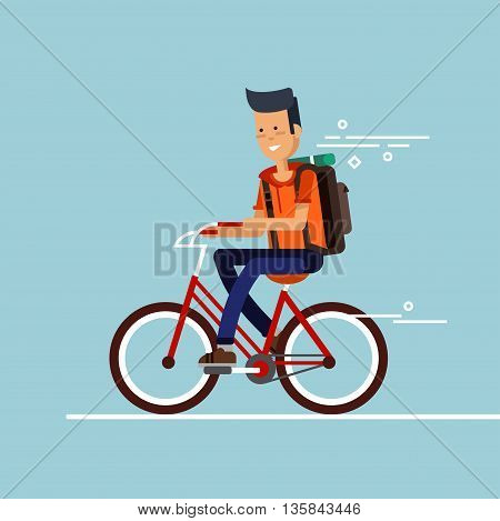 Young guy having fun riding bicycle with backpack . Kid having free time on weekend