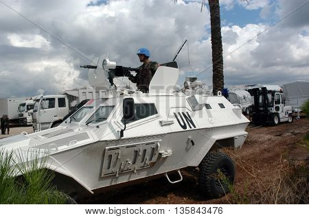 TYR, LEBANON-OCTOBER 21, 2006: Unidentified Turkish UN vehicle on patrol on October 21, 2006 in Tyr, Lebanon