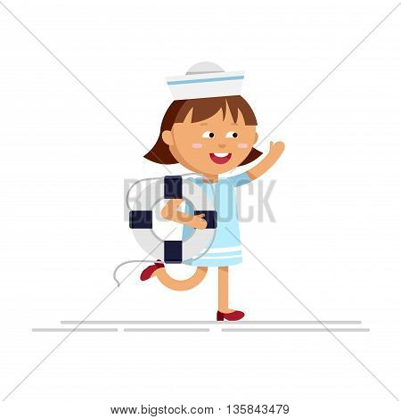 Cartoon girl in blue dress with lifeline in white background