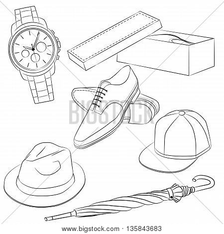 A set of fashion accessories. Men's shoes and accessories. Outline Vector illustration