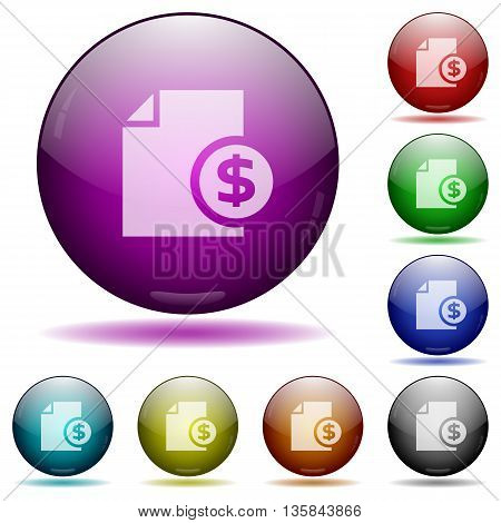 Set of color dollar money report glass sphere buttons with shadows.