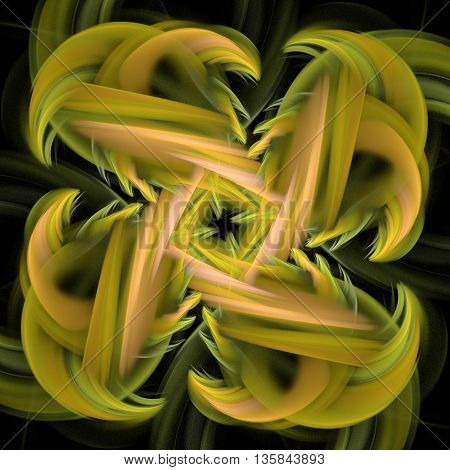 Colorful glowing pattern yellow overlapping lines, abstract art for background