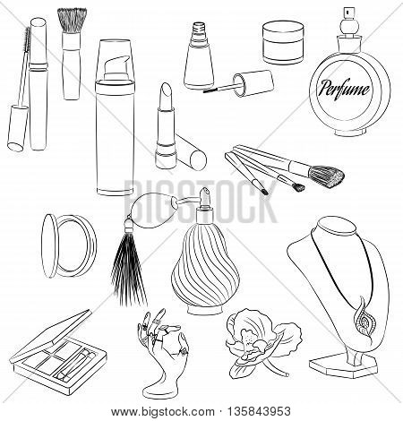 A set of fashion accessories. Cosmetics, perfumes, jewelry on a stand. Outline Vector illustration