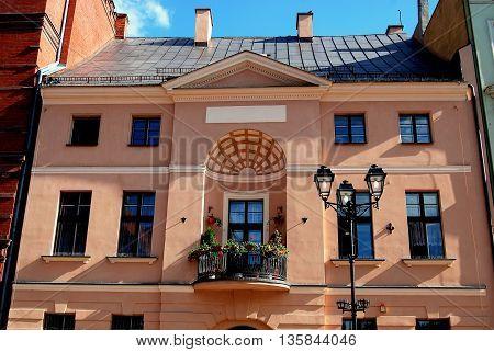 Torun Poland - May 25 2010: Facade of 18th century Artus House near the Church of the Holy Spirit