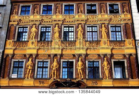 Wroclaw Poland - June 13 2010: Painted facade of 1672 House of the Seven Electors in the Rynek main market square