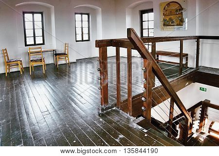 Chomutov city Czech republic 2016/06/18  - East wooden staircase on the top floor of the historic tower 'Mestska vez' in Chomutov