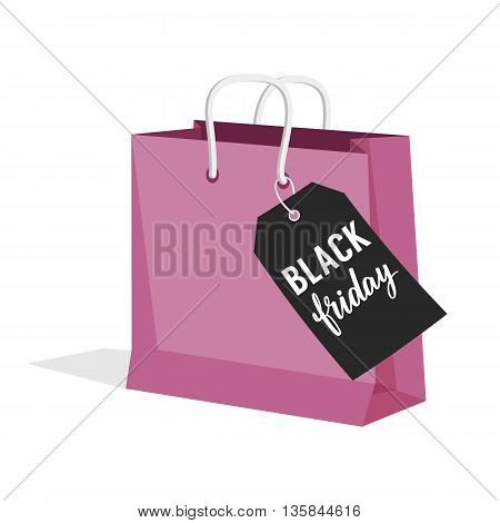 Black Friday Sale. Vector illustration of paper shopping bag with sale tag. EPS 10