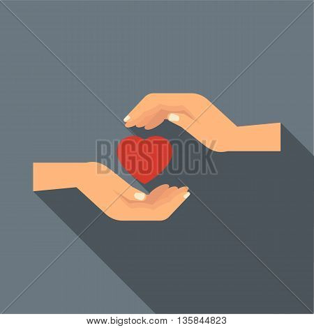 Hands holding heart icon in flat style with long shadow. Love and relationship symbol