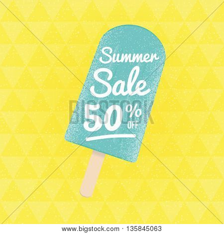 Summer Sale 50 per cent off. Vector triangular background with ice-cream.