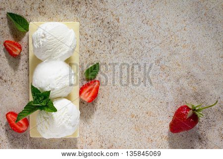 Ice Cream With Strawberries In A Form A Ball, Place For Your Text.