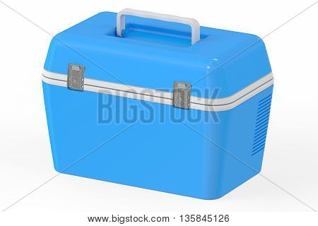 Blue portable cooler 3D rendering isolated on white background