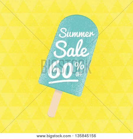 Summer Sale 60 per cent off. Vector triangular background with ice-cream.