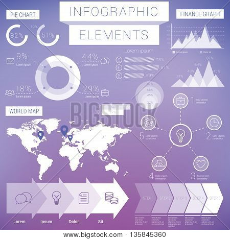 Business infographic Elements on purple . Pie, bar, map and etc.