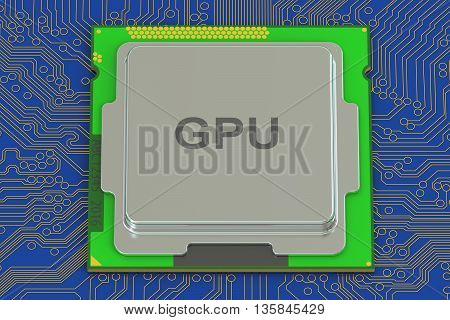 GPU graphic processor 3D rendering on blue background