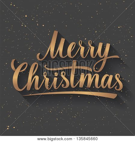 Gold Lettering of Merry Christmas on grey color background with Light Rays. Greeting Card. Vector illustration EPS 10