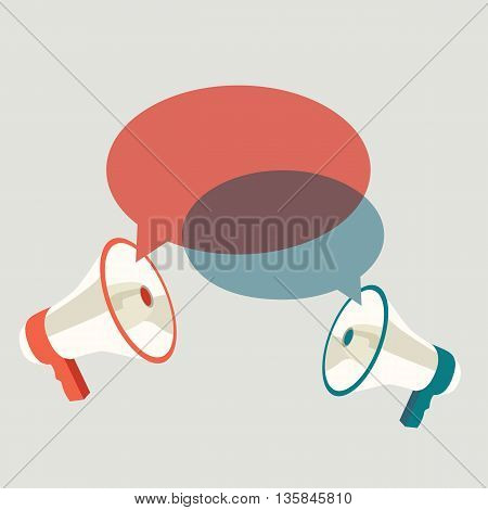 Two megaphones speech templates for text. Vector illustration