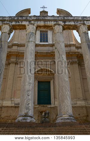 Ancient Roman Temple of Antoninus and Faustina in Rome Italy.