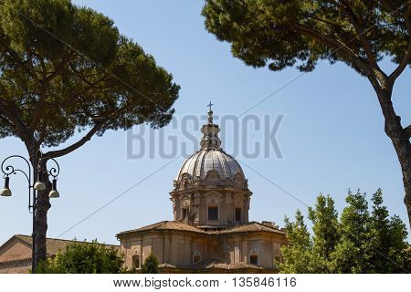 Archeological Site at Roman Forum in Rome Italy