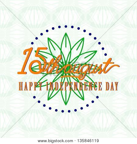 Vector illustration of India Independence Day 15th August. Creative style felicitation card for indian people with sign, flower on seamless wheel background. Print web application.Typography greeting poster