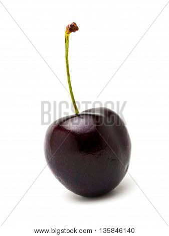 Single cherry isolated on a white background