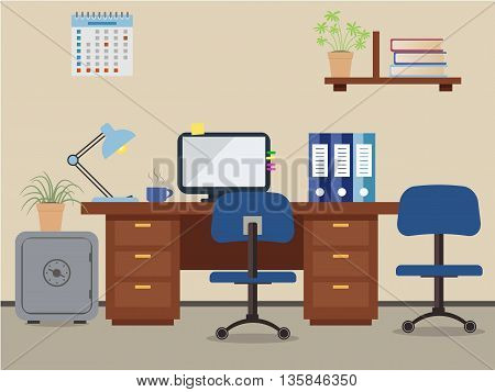 Workplace of office worker. Vector flat illustration. On the picture the desktop, a chairs, the  computer,  a safe, folders, a lamp and other objects in blue colors are represented