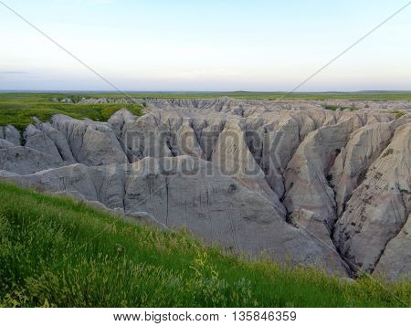 Soft, evening lighting at Badlands National Park