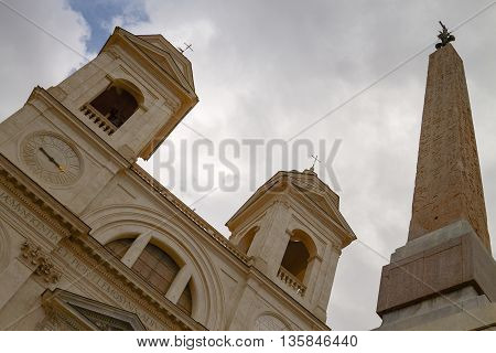 Twin Belfries of Trinita dei Monti Renaissance Church with Egyptian Obelisk