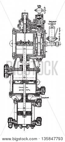 Compression pump Fives Lille, vintage engraved illustration. Industrial encyclopedia E.-O. Lami - 1875.