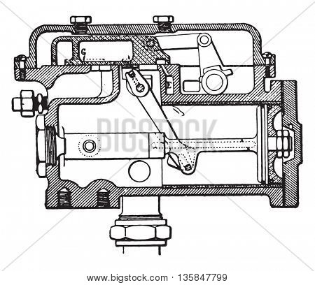 Tap system mechanic Vaughan Mckee, vintage engraved illustration. Industrial encyclopedia E.-O. Lami - 1875.