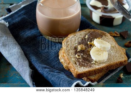 Cooking Breakfast, Toast Bread With Nut Paste, Chocolate And Cocoa Drink On Vintage Background