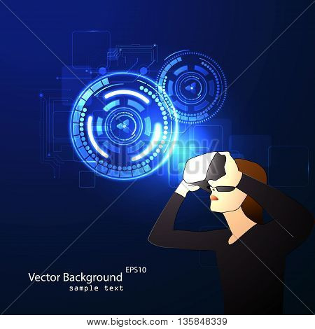 Vector illustration of glasses with the virtual reality of the hologram image.