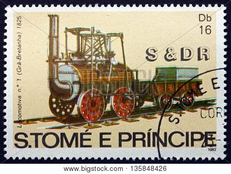 SAO TOME AND PRINCIPE - CIRCA 1982: a stamp printed in Sao Tome and Principe shows 1st Steam Locomotive Great Britain 1825 circa 1982
