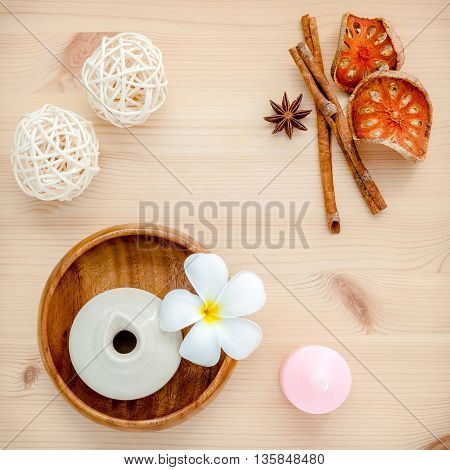 Frangipani Tropical Flowers With Herba Spa Products . Plumeria Flowers With Aromatic Oil . Thai Spa